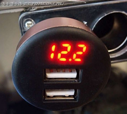 Разъём прикуривателя 2 USB 2.1А круглый с индикатором (box)